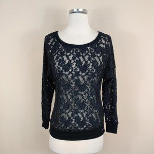 Guess Black Lace 3/4 Sleeve Top